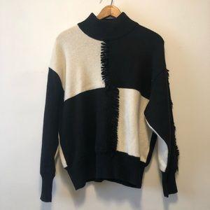 Vintage Black and White Fringe Mockneck Sweater